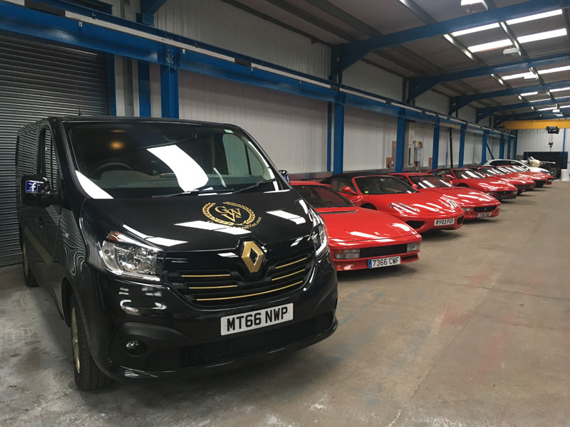 van with Ferraris in new premises